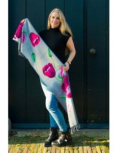 Tulip scarf 170x30cm pink tulip