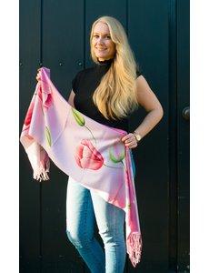 tulpensjaal 170x30 roze sjaal met tulpen