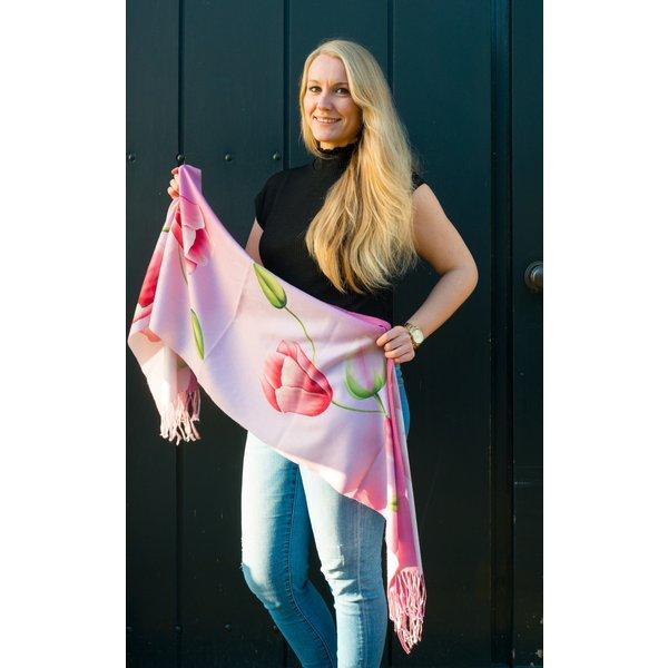 tulpensjaal 170x30 roze sjaal met tulp