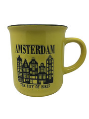 Mok geel Amsterdamse huisjes