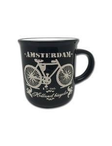 Mok zwart fiets Amsterdam