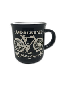 Mug black Amsterdam bicycle