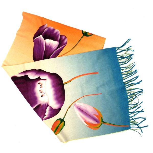Tulip scarf 170x30cm purple tulip orange/blue