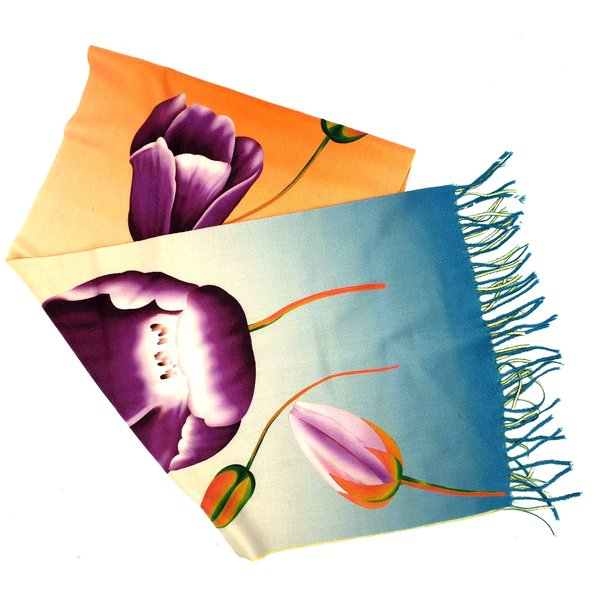 tulpensjaal 170x30 paarse tulp op oranje/blauw
