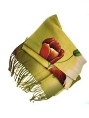 Tulip scarf 170x30cm red tulip on yellow scarf
