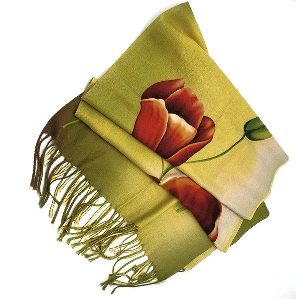 tulpensjaal 170x30 rode tulp op geel