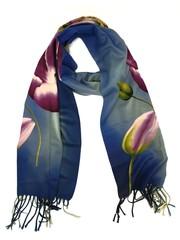 Tulip scarf 170x30cm purple tulip on blue