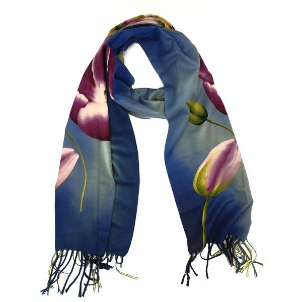 tulpensjaal 170x30 paarse tulp op blauw