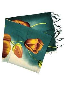 Tulip scarf 170x30cm orange tulip on green