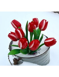Red wooden tulips bouquet r/w (10,20 or 30pcs)