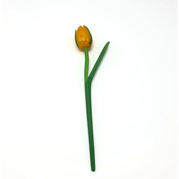 Houten tulp geel op steel met blad 30cm