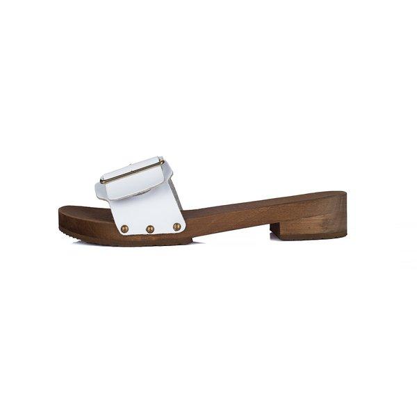 DINA Houten sandalen Wit effen met brede gesp