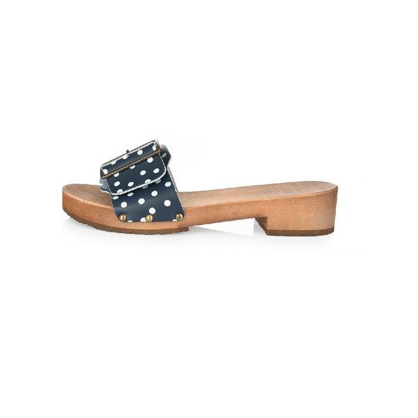 DINA  Holzsandalen-Blaue Punkte mit breiter Schnalle