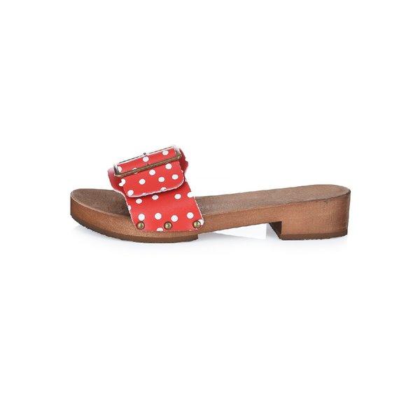 DINA Rote Punkte - Holzsandalen mit breiter Schnalle