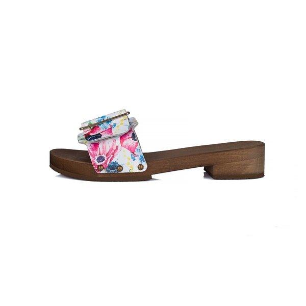 DINA Houten sandalen bloemenfeest met brede gesp