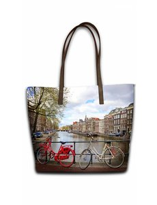 Celdes Tassenset Fietsen aan de gracht Amsterdam (set van twee tassen)
