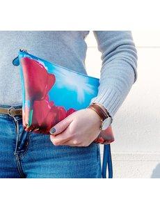 Celdes Schoudertas/purse rode tulpen genieten van de zon