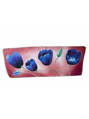 Tulpensjaal roze met blauwe tulpen