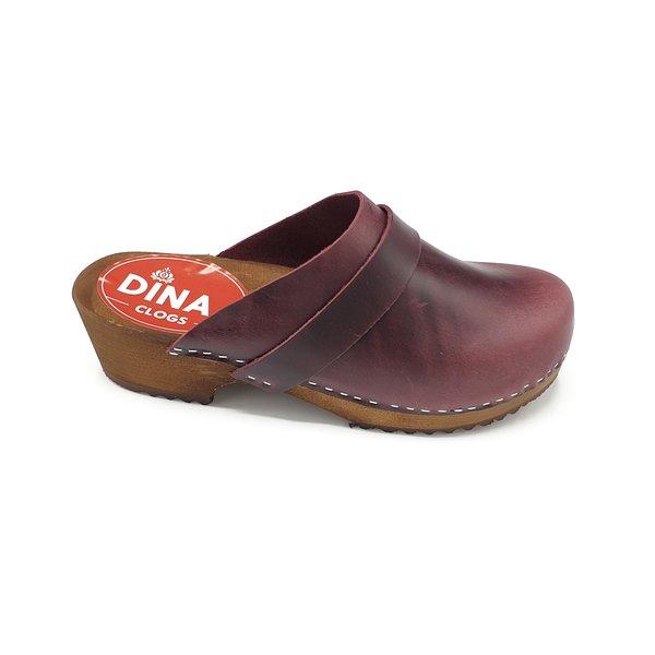 DINA Bordeaux Dina clogs with nubuck leather