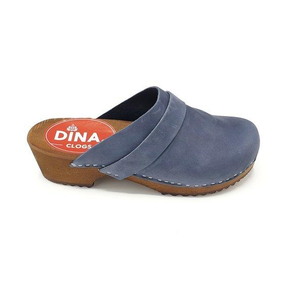 DINA Dina clogs blauw met nubuck leer