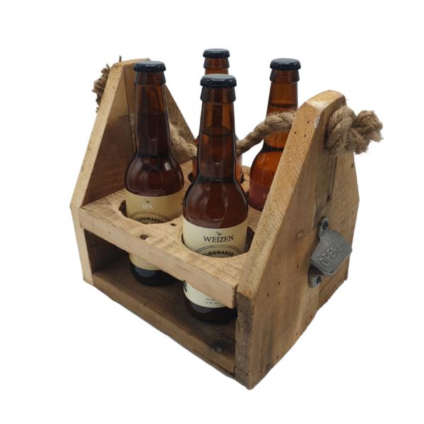 Beachwood Bierkiste mit Öffner 4 x Bier