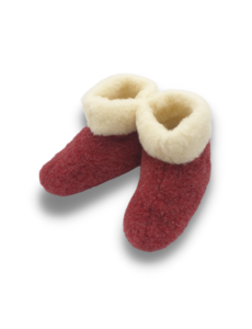 DINA Wollpantoffeln hohes Modell rot / weiß