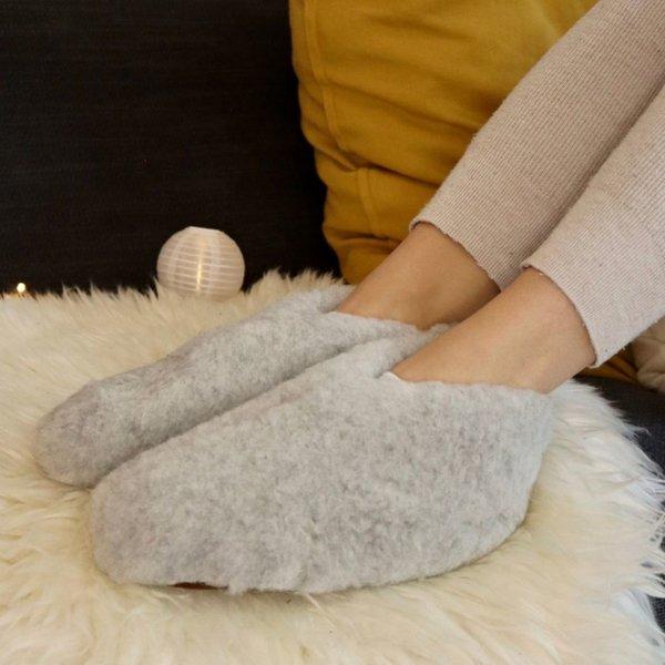 DINA Wollen sloffen laag model grijs