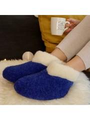 DINA Wollhausschuhe hohes Modell dunkelblau/weißer Kragen