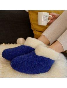 DINA Woolen slippers high model dark blue/white collar