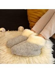 DINA Wollhausschuhe hohes Modell grauweiß