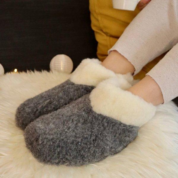 DINA Wollhausschuhe hohes Modell schwarz/weiß
