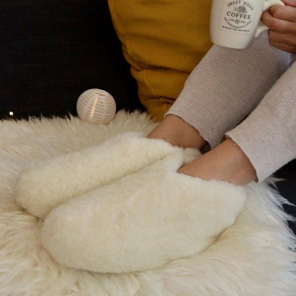 DINA Wollen sloffen laag model wit