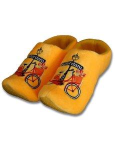 Klomppantoffels Geel met fiets