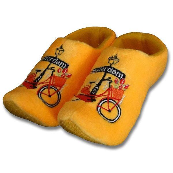 Clog Pantoffeln Gelb mit Fahrrad