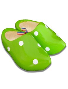 Wooden shoes green dots