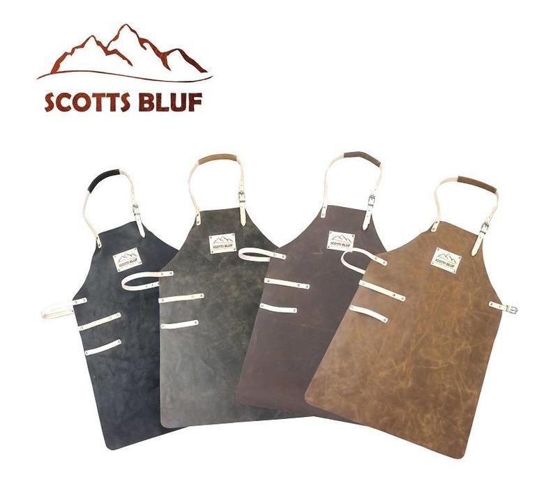 Barbeqeu Lederen schort van het merk Scottsbluf