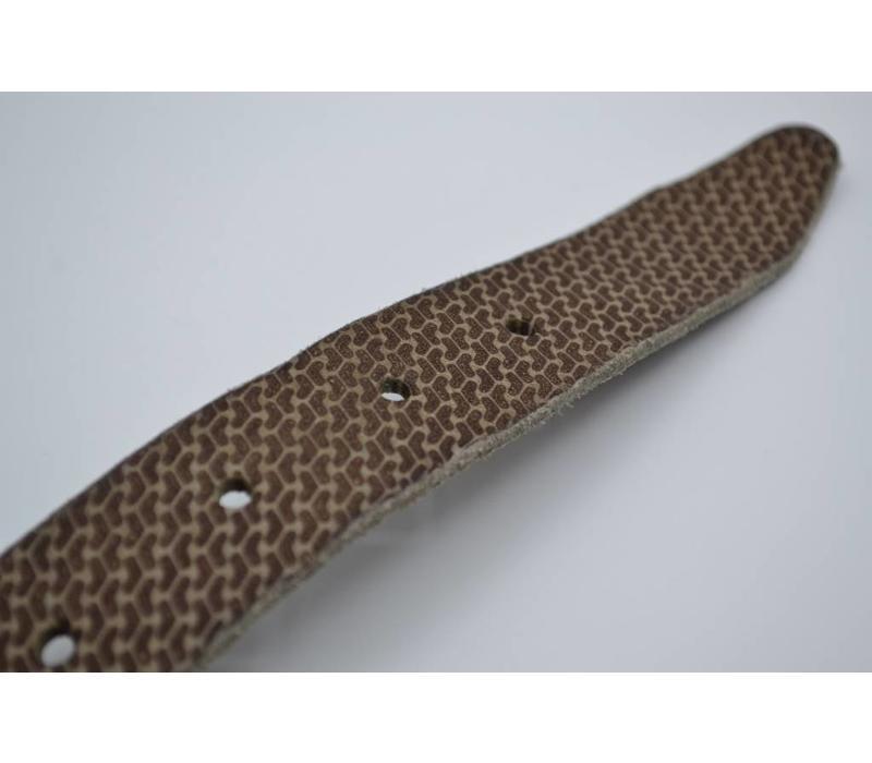 35mm brede riem van italiaans gewassen leder met golf print