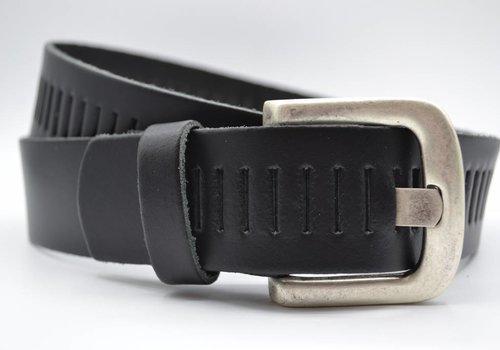 Scotts Bluf split lederen 40mm zwarte casual perforatie riem