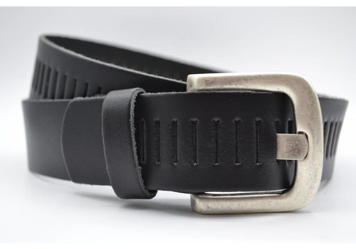 Scotts Bluf split lederen 40mm zwarte casual perforatie riem