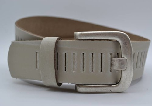 Scotts Bluf split lederen 40mm ecru casual perforatie riem