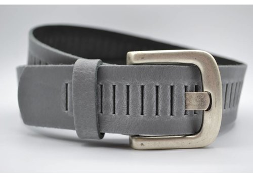 Scotts Bluf split lederen 40mm licht grijze casual perforatie riem