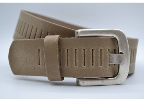 Scotts Bluf split lederen 40mm taupe casual perforatie riem