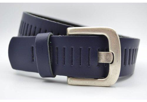 Scotts Bluf split lederen 40mm donker blauwe casual perforatie riem