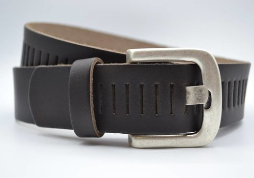 Scotts Bluf split lederen 40mm donker bruine casual perforatie riem