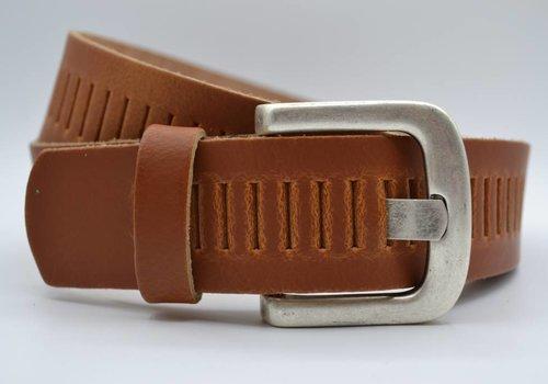 Scotts Bluf split lederen 40mm cognac casual perforatie riem