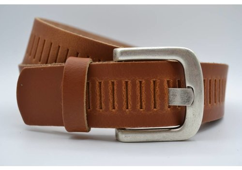 Scotts Bluf split lederen 40mm cognac casual perforatie riem