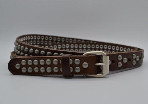 Rock 'n Rich Bruine 20mm brede riem met bolstuds