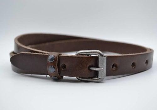 Rock 'n Rich bruine 20mm brede riem met studs op de lus