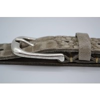 30mm Italiaans volnerf lederen riem met kroko print en oud zilveren nette gesp.