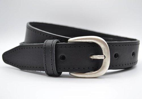 Scotts Bluf 35mm zwarte gestikte italiaans volnerf lederen riem